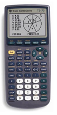 Graphic of the TI73 graphing calculator.