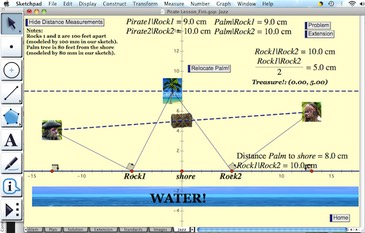 Graphic of a screencast on solving the Pirate Problem using dynamic geometry software.